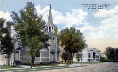 Congregational Church and Public Library, Morris Minnesota, 1915