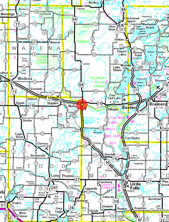 Minnesota State Highway Map of the Motley Minnesota area