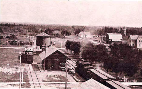 Depot and surrounding area, Motley Minnesota, 1905