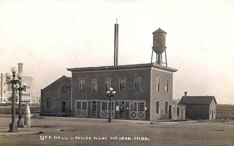 City Hall and Power Plant, Mountain Iron Minnesota, 1918