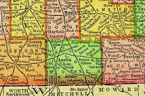1895 Map of Mower County Minnesota