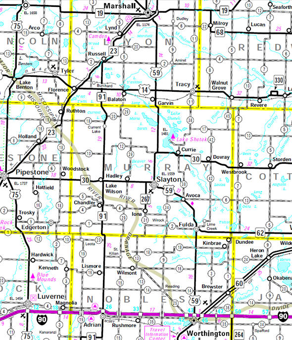 Minnesota State Highway Map of the Murray County Minnesota area