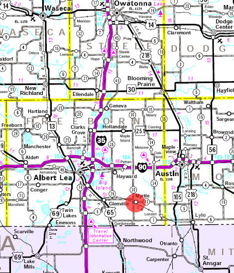 Minnesota State Highway Map of the Myrtle Minnesota area