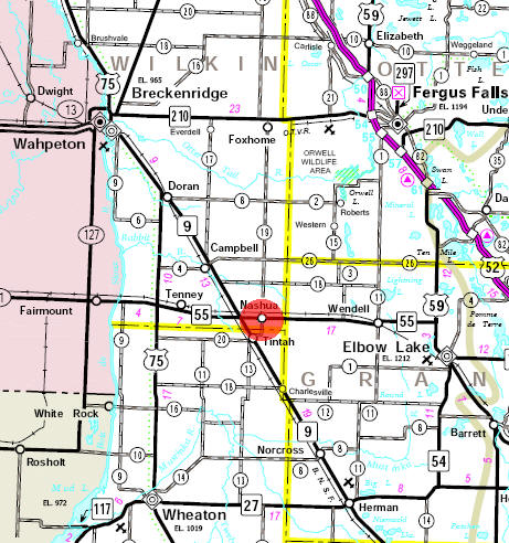 Minnesota State Highway Map of the Nashua Minnesota area