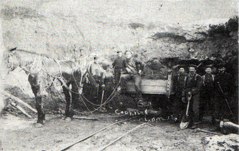 The first operation at the Hawkins Mine in 1902 were underground with equipment as shown here.