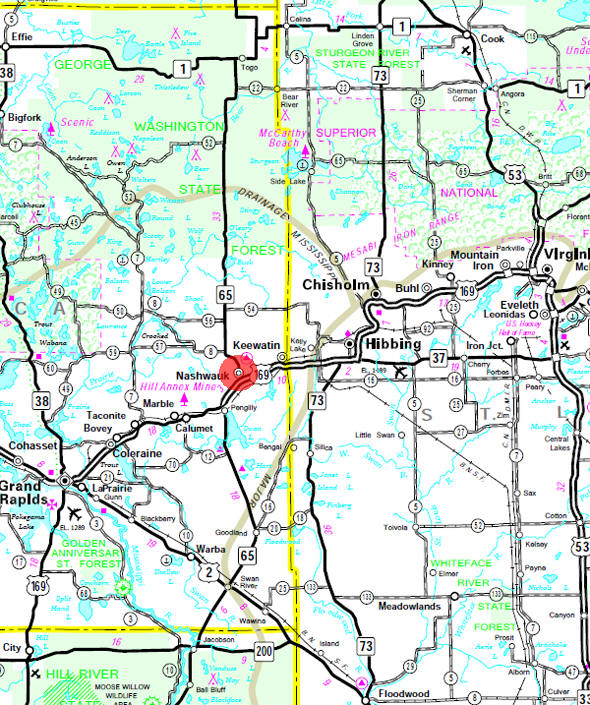Minnesota State Highway Map of the Nashwauk Minnesota area