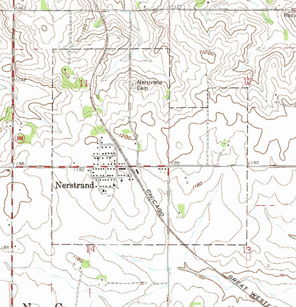 Topographic map of the Nerstrand Minnesota area
