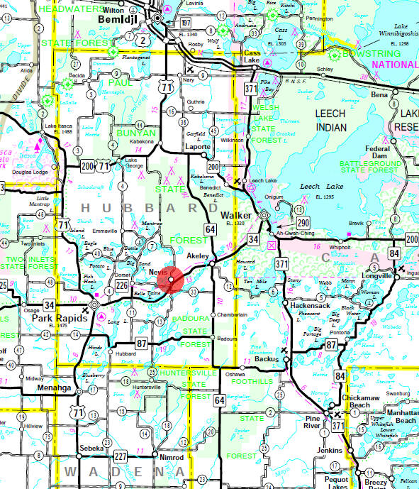 Minnesota State Highway Map of the Nevis Minnesota area