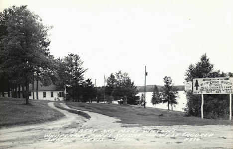 Whispering Pines Resort on West Crooked Lake, Nevis Minnesota, 1960's