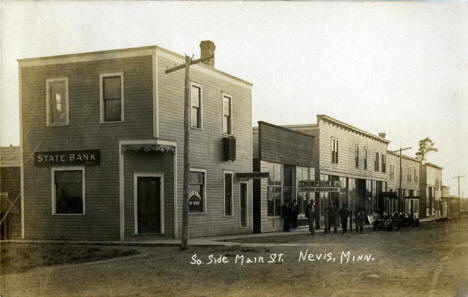 South side of Main Street, Nevis Minnesota, 1910