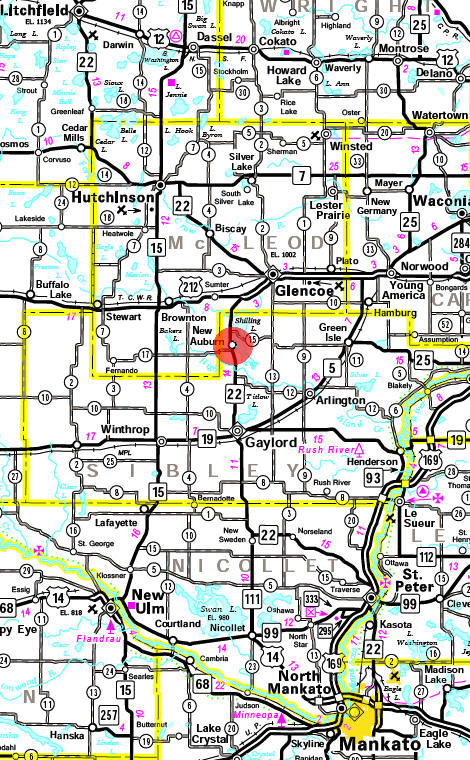 Minnesota State Highway Map of the New Auburn Minnesota area