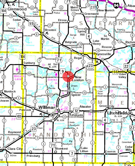 Minnesota State Highway Map of the New London Minnesota area