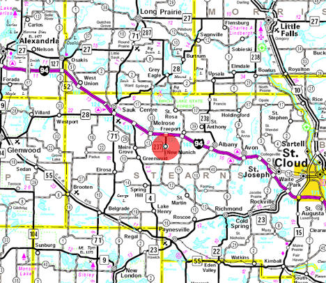 Minnesota State Highway Map of the New Munich Minnesota area