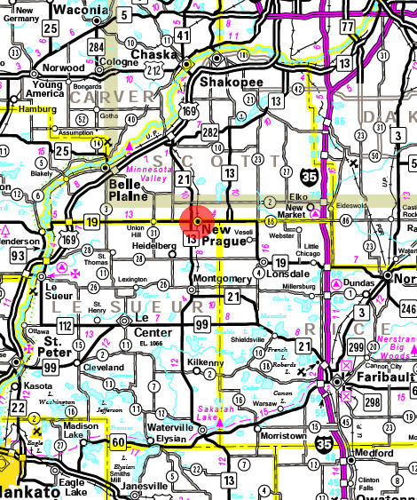 Minnesota State Highway Map of the New Prague Minnesota area