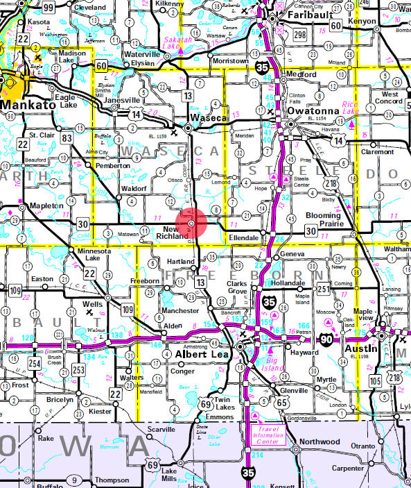 Minnesota State Highway Map of the New Richland Minnesota area