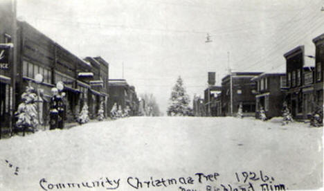Downtown and Community Christmas Tree, New Richland Minnesota, 1926