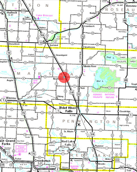 Minnesota State Highway Map of the Newfolden Minnesota area