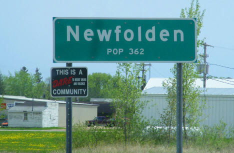 Newfolden Minnesota population sign, 2008