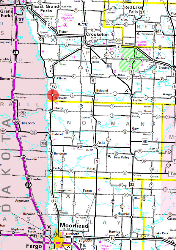 Minnesota State Highway Map of the Nielsville Minnesota area