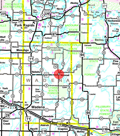 Minnesota State Highway Map of the Nimrod Minnesota area