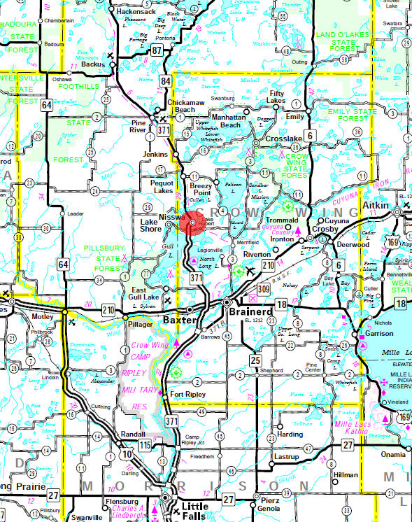 Minnesota State Highway Map of the Nisswa Minnesota area