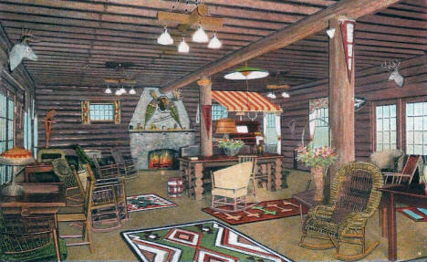 Rustic Lounge at Grand View Lodge, Nisswa Minnesota, 1940's