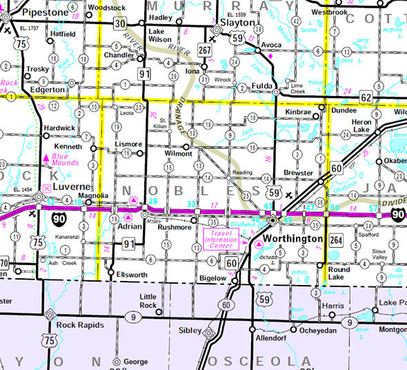 Minnesota State Highway Map of the Nobles County Minnesota area