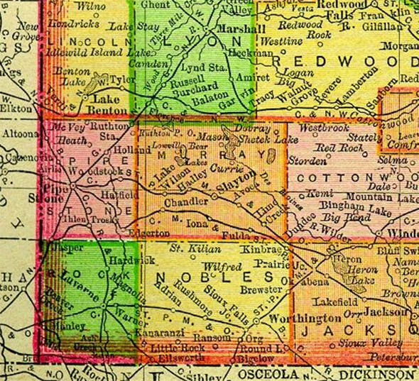 1895 Map of Nobles County Minnesota