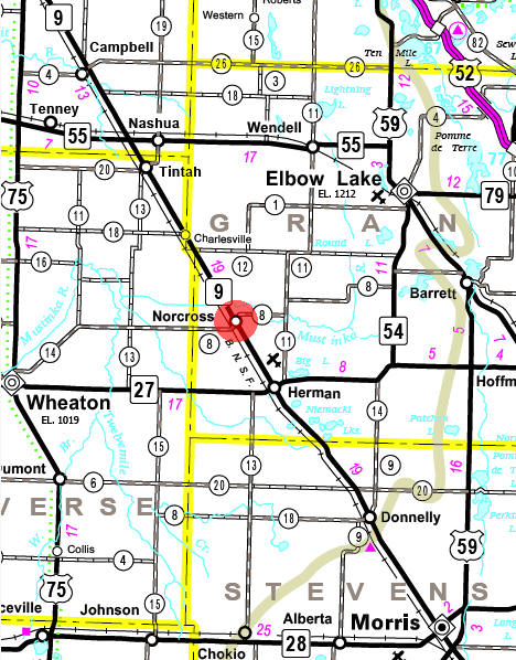 Minnesota State Highway Map of the Norcross Minnesota area