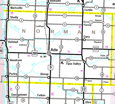 Minnesota State Highway Map of the Norman County Minnesota area