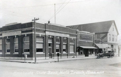 Merchants State Bank, North Branch Minnesota, 1920's