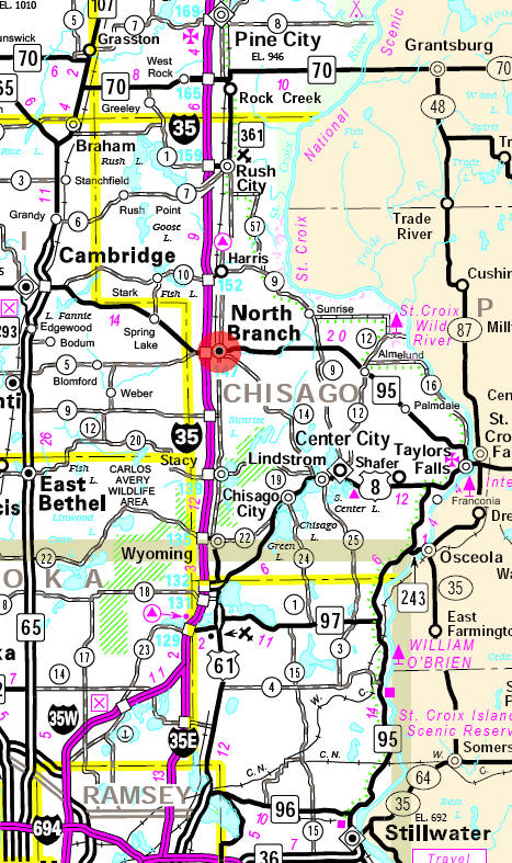 Minnesota State Highway Map of the North Branch Minnesota area