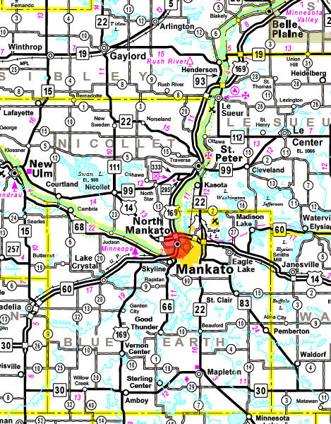 Minnesota State Highway Map of the North Mankato Minnesota area