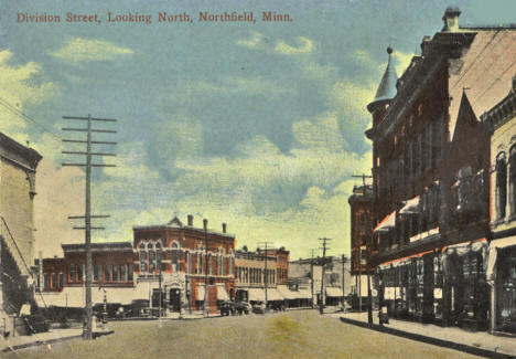 Division Street looking north, Northfield Minnesota, 1910's
