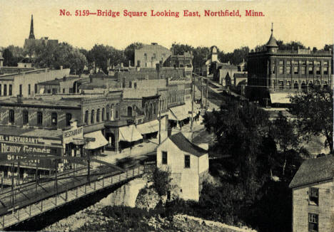 Bridge Square looking east, Northfield Minnesota, 1910's