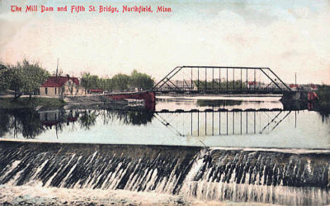 The Mill Dam and Fifth Street Bridge, Northfield Minnesota, 1908
