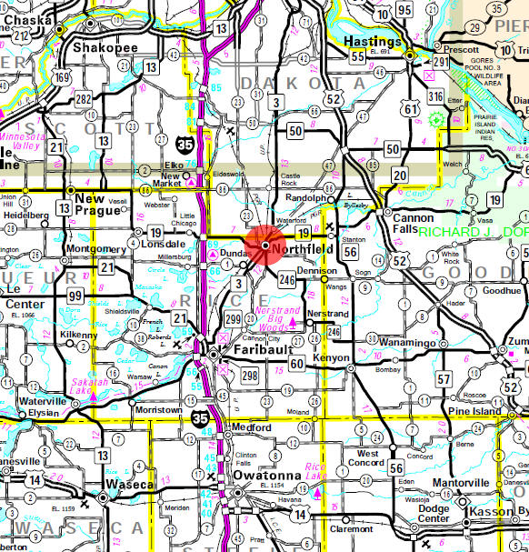 Minnesota State Highway Map of the Northfield Minnesota area