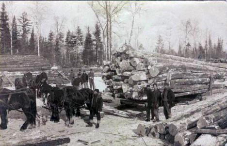 Logging scene, near Northome Minnesota, 1907