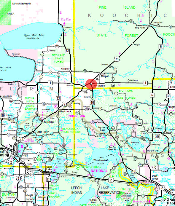 Minnesota State Highway Map of the Northome Minnesota area