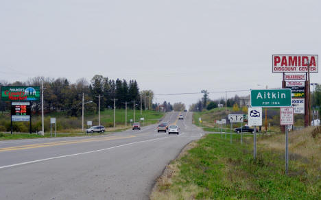 Entering Aitkin Minnesota from the south on US Highway 169, 2007