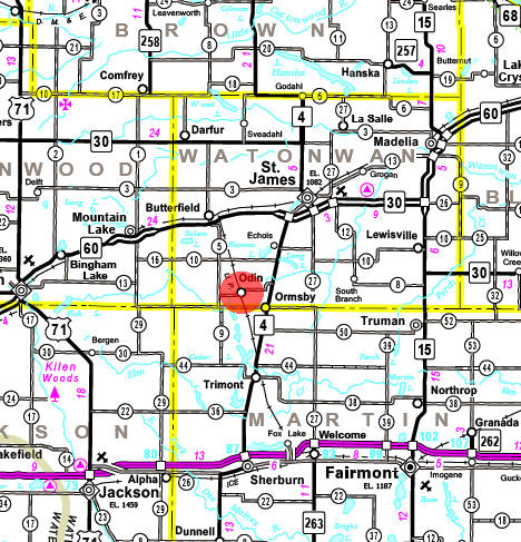 Minnesota State Highway Map of the Odin Minnesota area