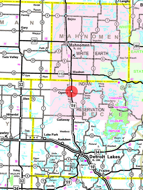 Minnesota State Highway Map of the Ogema Minnesota area