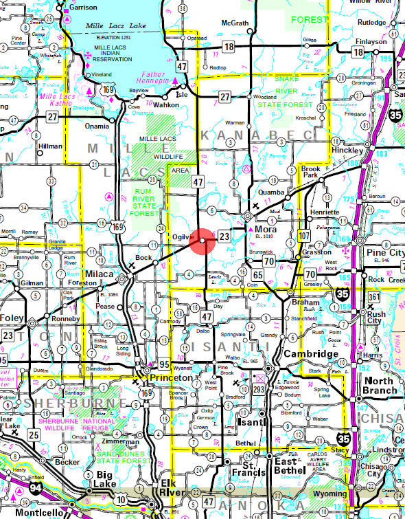 Minnesota State Highway Map of the Ogilvie Minnesota area