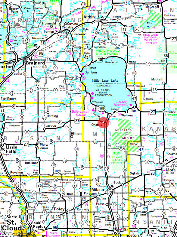 Minnesota State Highway Map of the Onamia Minnesota area