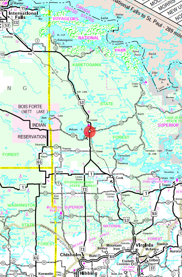 Minnesota State Highway Map of the Orr Minnesota area
