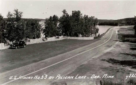 US Highway 53 by Pelican Lake, Orr Minnesota, 1940's