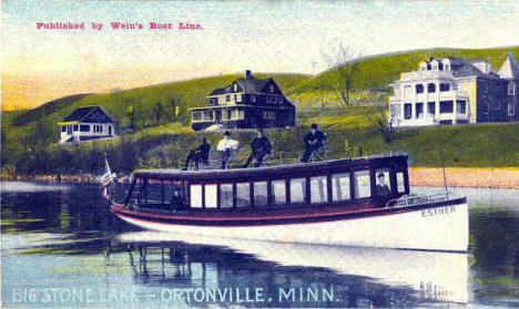 Wein's Boat Line 'Esther' on Big Stone Lake, Ortonville Minnesota, 1910