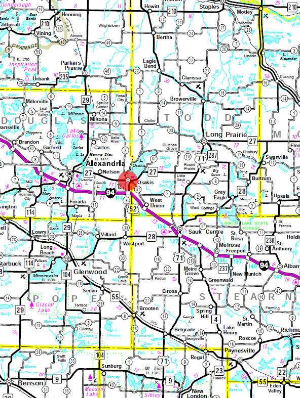 Minnesota State Highway Map of the Osakis area