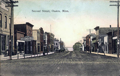 Second Street, Osakis Minnesota, 1908