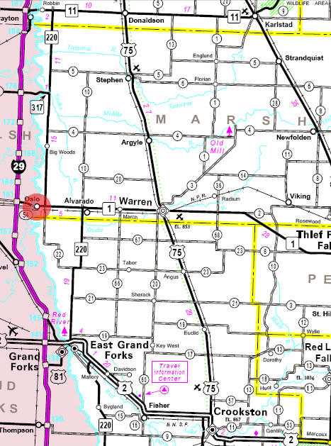 Minnesota State Highway Map of the Oslo Minnesota area